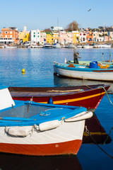 Procida (Italy) - Chiaiolella bay with its colored houses and boats is a tourists attraction