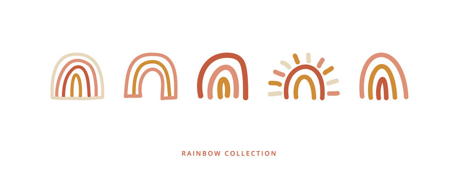 Rainbow collection on white background. Doodles and sketches vector illustrations.