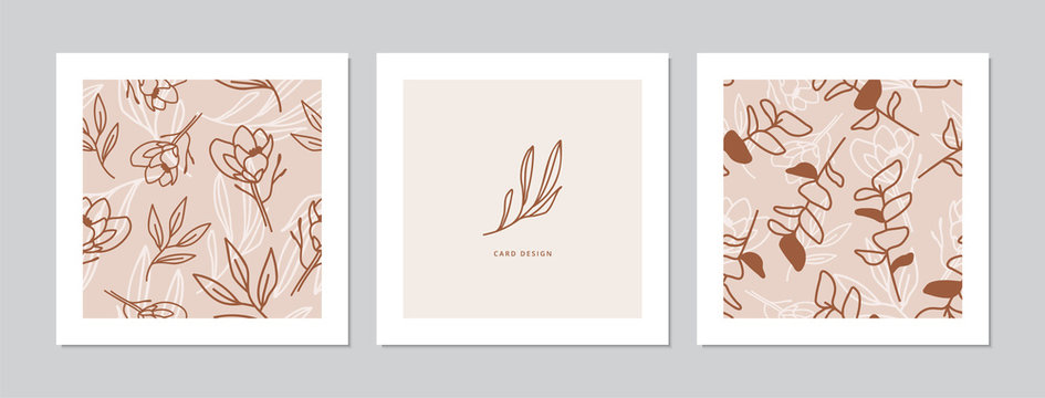 Square card designs with magnolia flower and leaf twigs patterns.  Doodles and sketches vector illustration background.