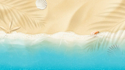 Top view on summer sea beach. Top view on ocean beach with soft waves. Beautiful background with seashells on sea sand. Vector illustration with plant's shadows. Fototapete