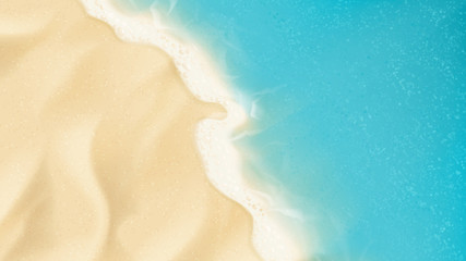 Top view on sea beach. Top view on ocean beach with soft waves. Vector illustration.