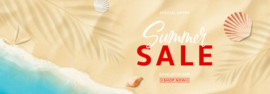 Summer sale horizontal banner template. Top view on sea beach with soft waves. Beautiful background with seashells on sea sand. Vector illustration with plant's shadows. Seasonal discount offer.