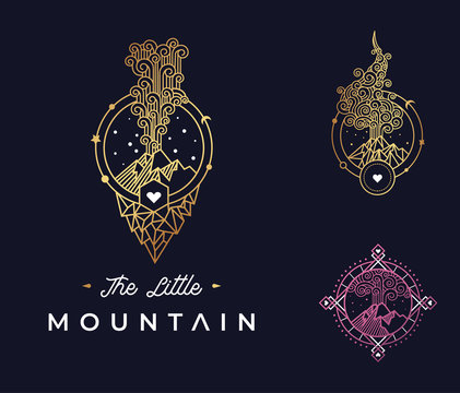 Printart deco mountain eruption volcano logo