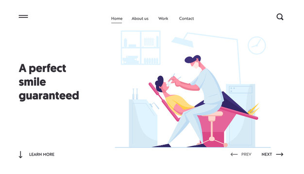 Dentistry Website Landing Page. Man Patient Lying in Medical Chair in Stomatologist Cabinet. Doctor Dentist Conducting Client Oral Check Up Treatment Web Page Banner. Cartoon Flat Vector Illustration