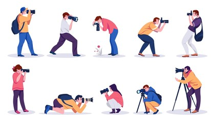 Photographers. Professional cartoon people with cameras shooting photos with tripods and from hands. Vector isolated illustrations young characters paparazzi, bloggers and journalists