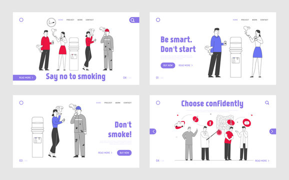 People Smoking Addiction Website Landing Page Set. Male Female Characters Having Pleasure of Smoker Lifestyle, Social Problem, Coffee Break Web Page Banner. Cartoon Flat Vector Illustration, Line Art