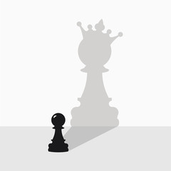 Black pawn with a shadow in the form of a queen on a gray background.