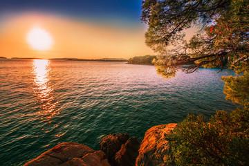 Tuinposter Kust attractive sunrise landscape, rocky croatian coast, spectacular nature seascape, splendid summer photo, Adriatic sea, Dalmatia, coast between Primosten and Sibenik wallpaper Croatia, Europe tourism,