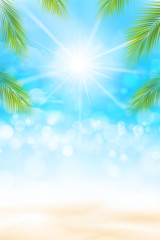 Summer abstract background bokeh and ligting effect sand beach 002