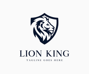 Luxury King Lion Logo Icon Vector Illustration Template