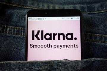 KONSKIE, POLAND - December 21, 2019: Klarna Bank AB logo on mobile phone