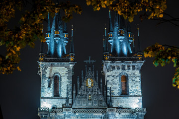 Gothic Architecture Church of Our Lady Before Tyn in Prague at Night