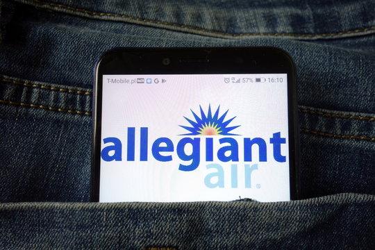 KONSKIE, POLAND - December 21, 2019: Allegiant Air airline logo on mobile phone