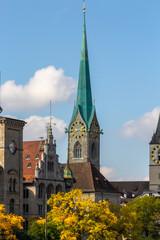 The tower of Fraumuenster church in Zurich, Switzerland