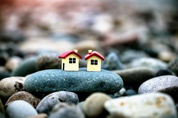 Two houses as neighbors. Concept of neighborhood, friendship and love