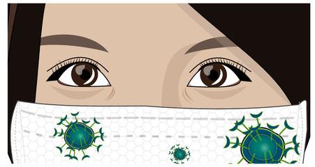 Femme asiatique portant un masque