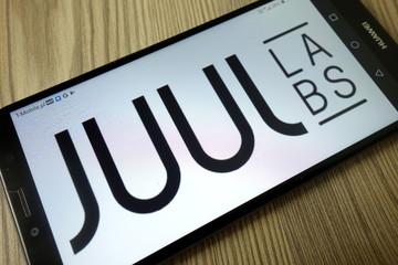 KONSKIE, POLAND - December 21, 2019: Juul Labs Inc logo on mobile phone
