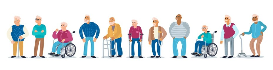 Vector colorful set on the theme of elderly people, old age, disability and health. Isolated men with canes, walkers, wheelchairs. Cartoon flat characters for use in your design