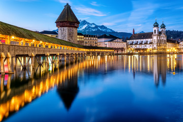 Chapel bridge and Mount Pilatus in Lucerne town, Switzerland