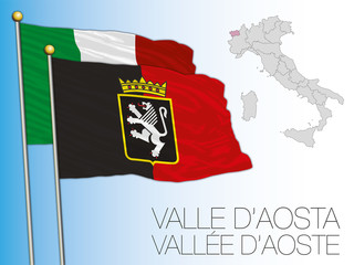 Valle d'Aosta official regional flag and map, Italy, vector illustration