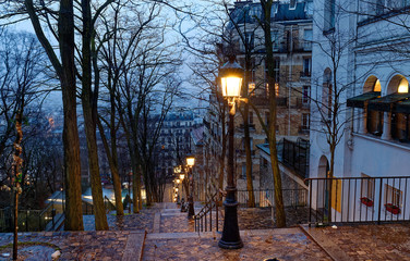 The staircase at Montmartre near the Sacre-Coeur Basilica in the early morning, Paris.