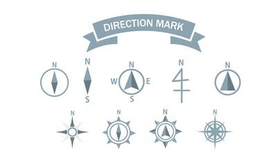 地図 シンボル 方位記号  方位マーク 方位図 方位 羅針盤 アイコン セット シンプル ベクター イラスト  vector map symbol direction collection set icon blue