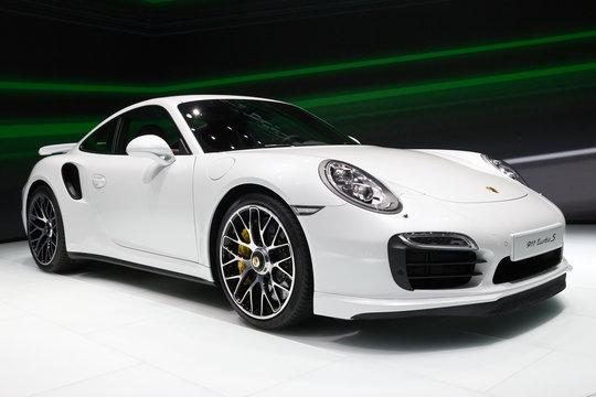 Porsche 911 Turbo S sports car at the Frankfurt IAA motor show on September 13, 2013.