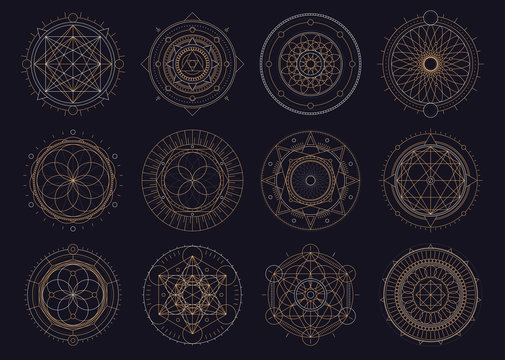Vector set of sacred geometric figures, dreamcatcher and mystic symbols, golden abstract signs