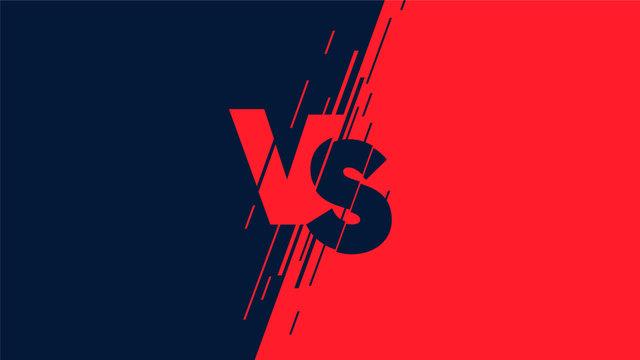 Versus screen flat modern design, battle headline backgrounds against each other, dark blue vs red