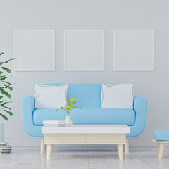 Square poster mockup with Three  frames on empty white wall in living room interior, Bright blue sofa in the living room, 3D Rendering