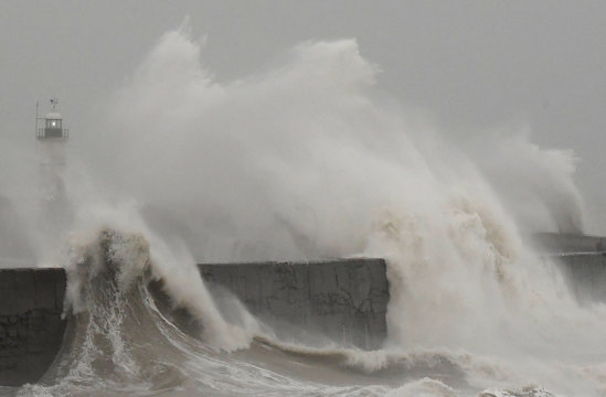 Large waves caused by Storm Ciara hit the the seafront and wall in Newhaven