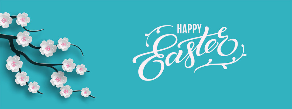 Happy Easter banner. Holiday concept design for greeting card, banner, poster, flyer, web. Happy Easter calligraphy lettering text, floral blue background. Paper cut out art style, vector illustration