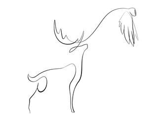 Foto auf Gartenposter One Line Art Printable Reindeer and Owl Line Art, Abstract Minimalist Reindeer and Owl Drawing, Simple One Line, Winter Deer, Modern Decor, Wall Art.