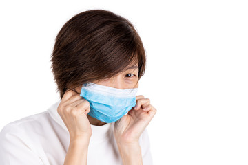 Concerned Asian women with face mask for protection against influenza virus