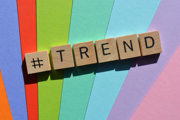 # Trend, word on multi coloured background