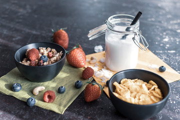Gesundes Müsli, Cornflakes und Kokosmilch mit frischen Früchten im Sonnenlicht