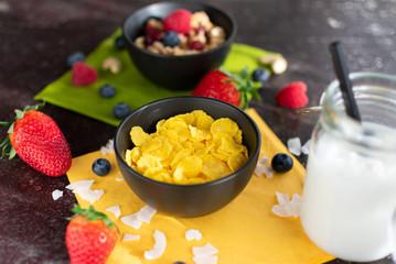 Schüssel mit leckeren Cornflakes. Dazu Kokosmilch und Müsli unscharf dargestellt
