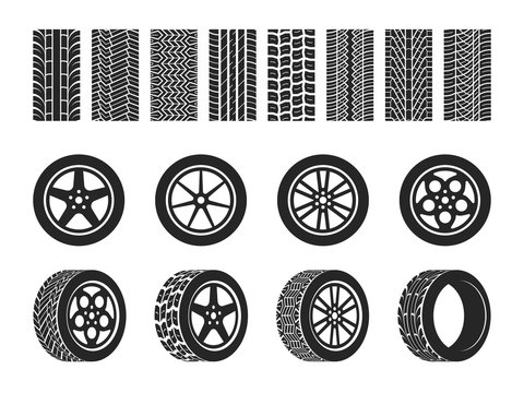 Wheel tires. Car tire tread tracks, motorcycle racing wheels and dirty tires track. Motocross bike trail, vehicle track or auto race tires. Vector isolated set
