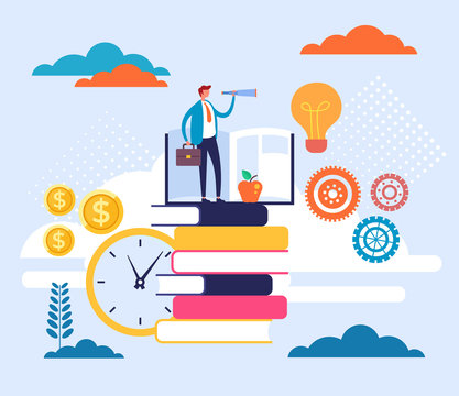 Personal growth education learning concept. Vector flat cartoon graphic design illustration