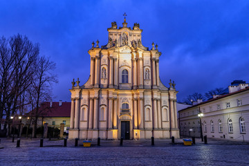 Carmelite Church in Warsaw at Night