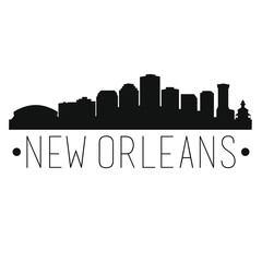 New Orleans Louisiana Skyline. Silhouette City Design Vector Famous Monuments.