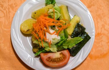 Fresh classic  caesar salad on dining table