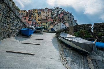 Boat wharf area in Manarola, the old fisherman village, in Cinque Terre, Italy.