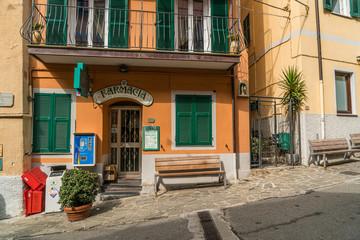 Manarola, Liguria, Italy - October 05 2017: Colorful building and architecture in Manarola town in Cinque Terre National Park, UNESCO world heritage, La Spezia region, Liguria