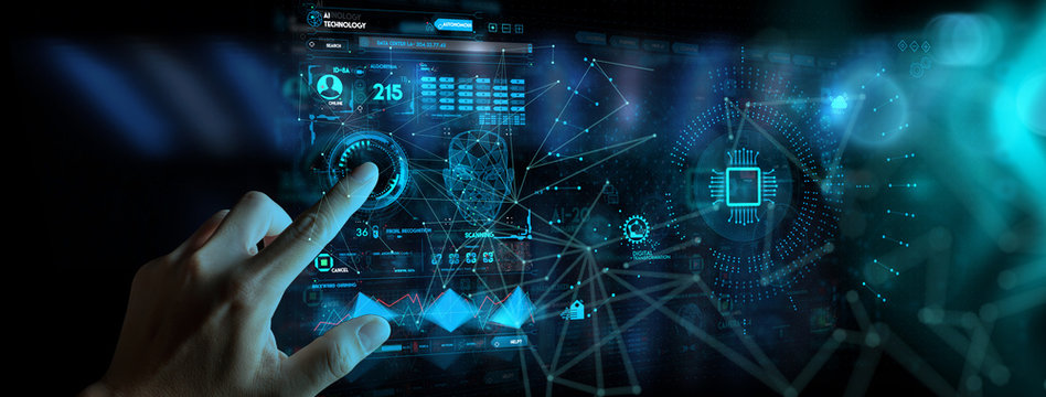 Hnad working with Digital transformation change management and internet of things (IoT) Ui.