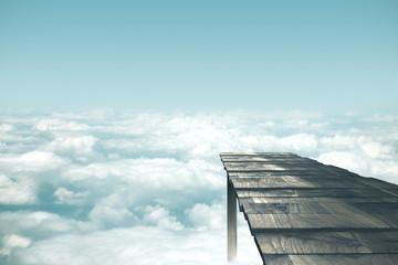 Old wooden pier in sky