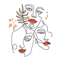 Trendy abstract one line woman faces with leaves and pastel shapes. Continuous line print for textile, poster, card, t-shirt etc. Vector fashion illustration.