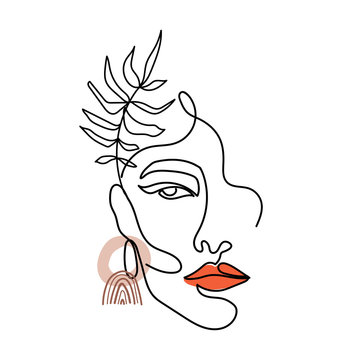 Trendy abstract one line woman face with leaves and abstract shapes. Continuous line print for textile, poster, card, t-shirt etc. Vector fashion illustration.