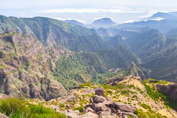 Pico do Arieiro. Mountain landscape at sunny day