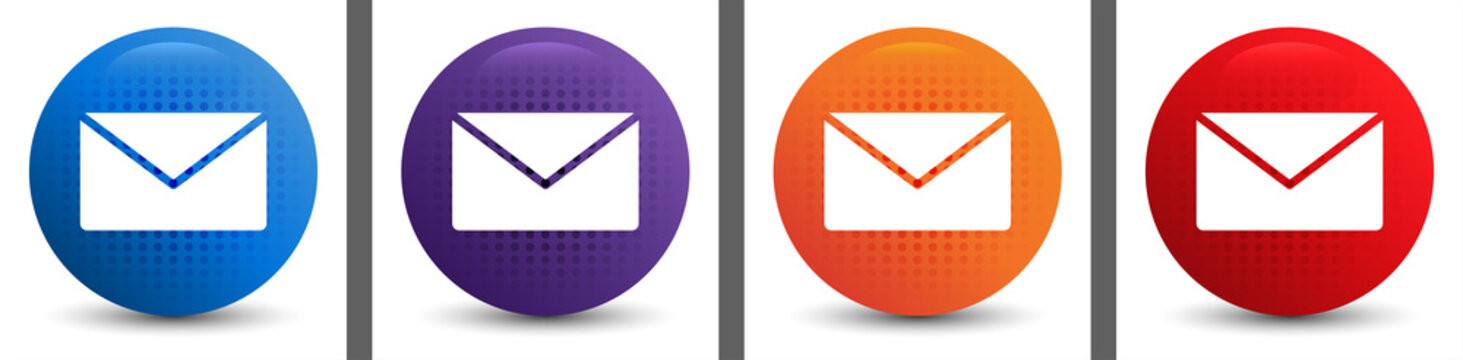 Email icon abstract halftone round button set